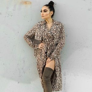 PrettyLittleThing Taupe Snake Print trench coat